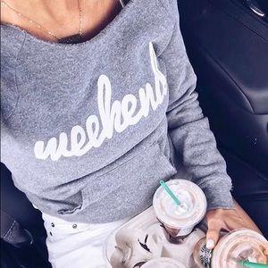 Tops - WEEKEND💕 gray off the shoulder sweater top pocket